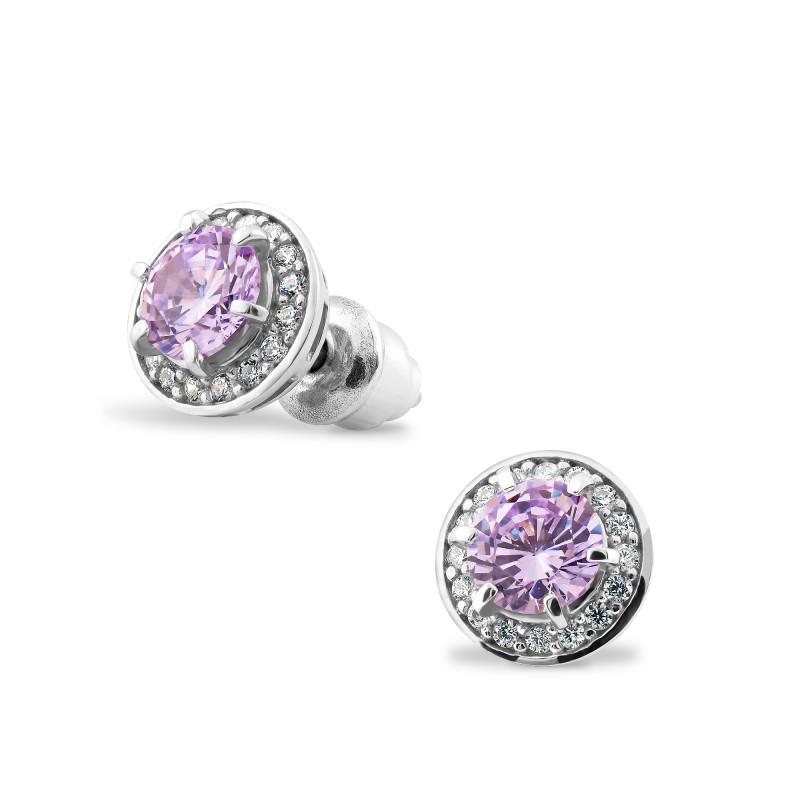 Серьги с фиолетовым фианитом 430