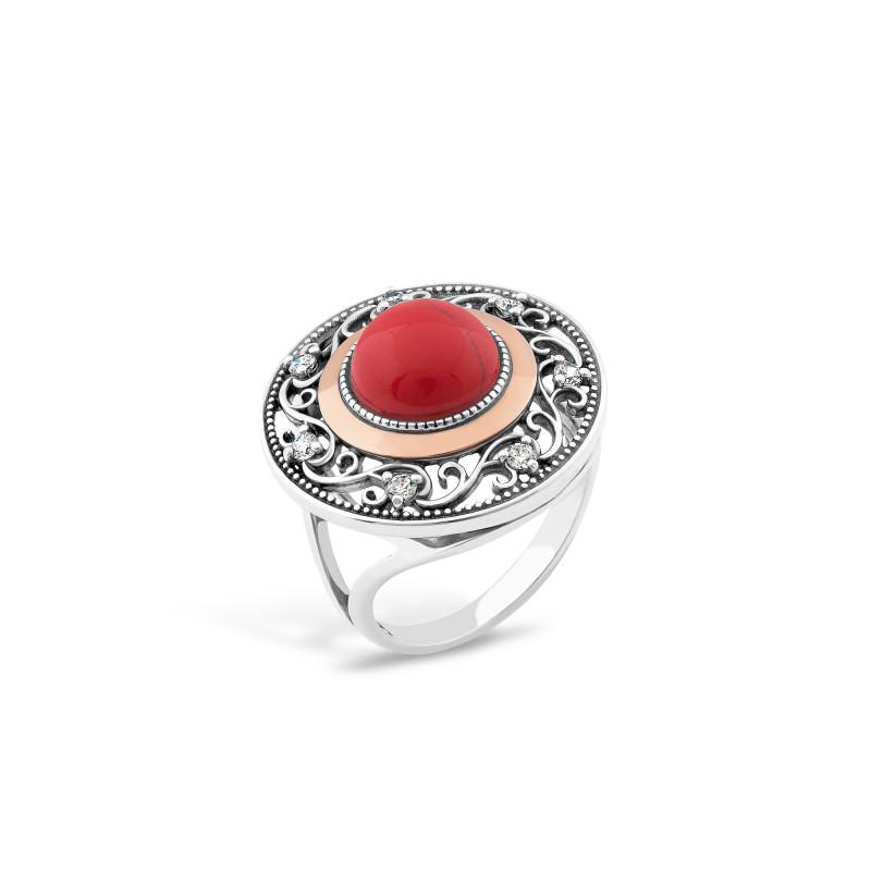 Кольцо с кораллом 709