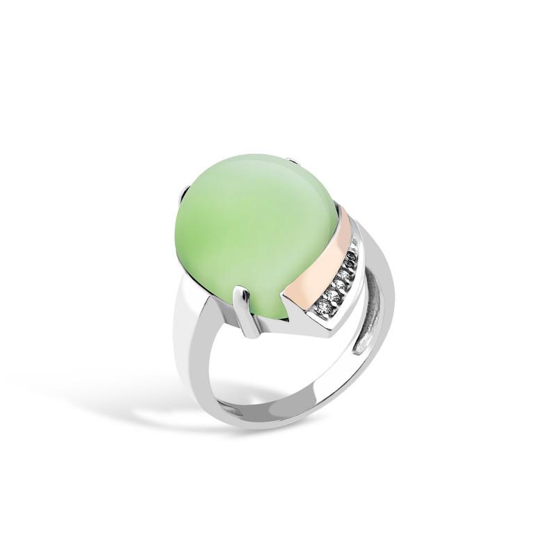 Кольцо с хризопразом 526