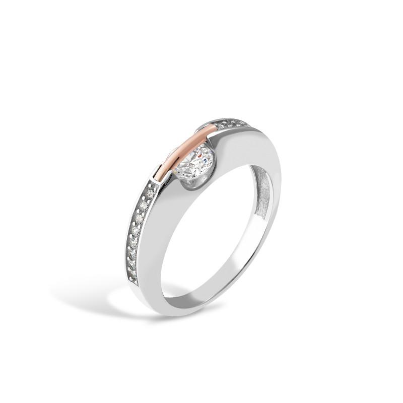 Кольцо с белым фианитом 555