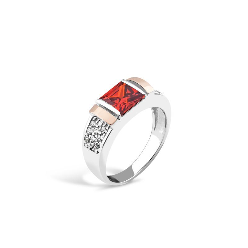Кольцо с красным фианитом 050