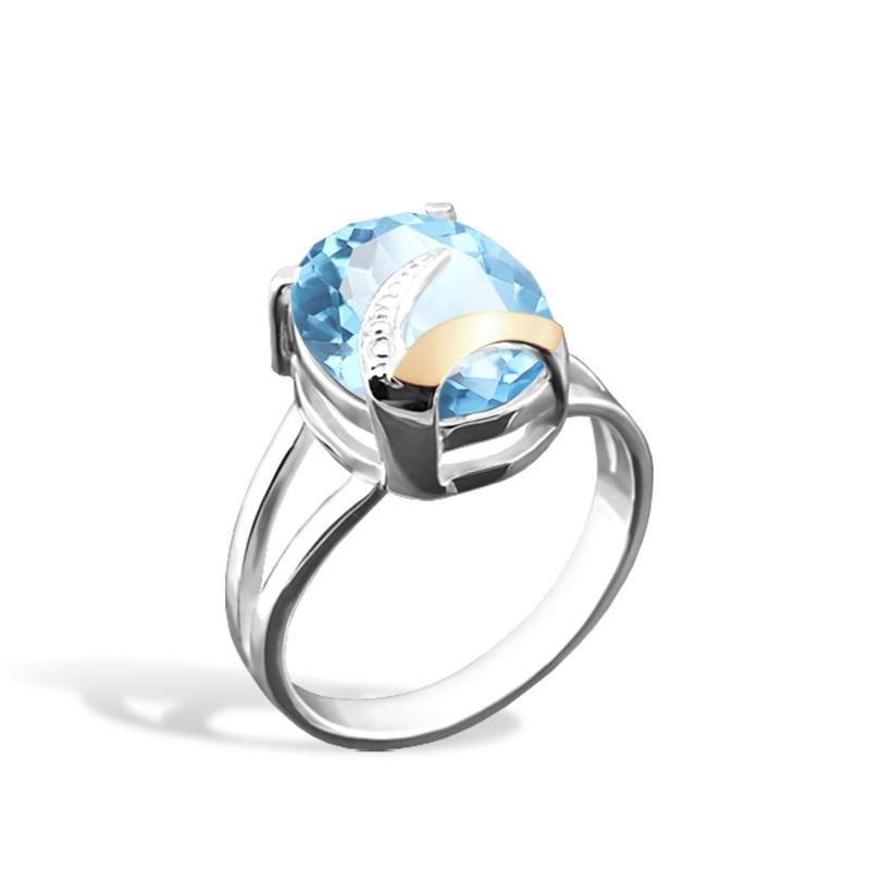 Кольцо с голубым альпинитом 085