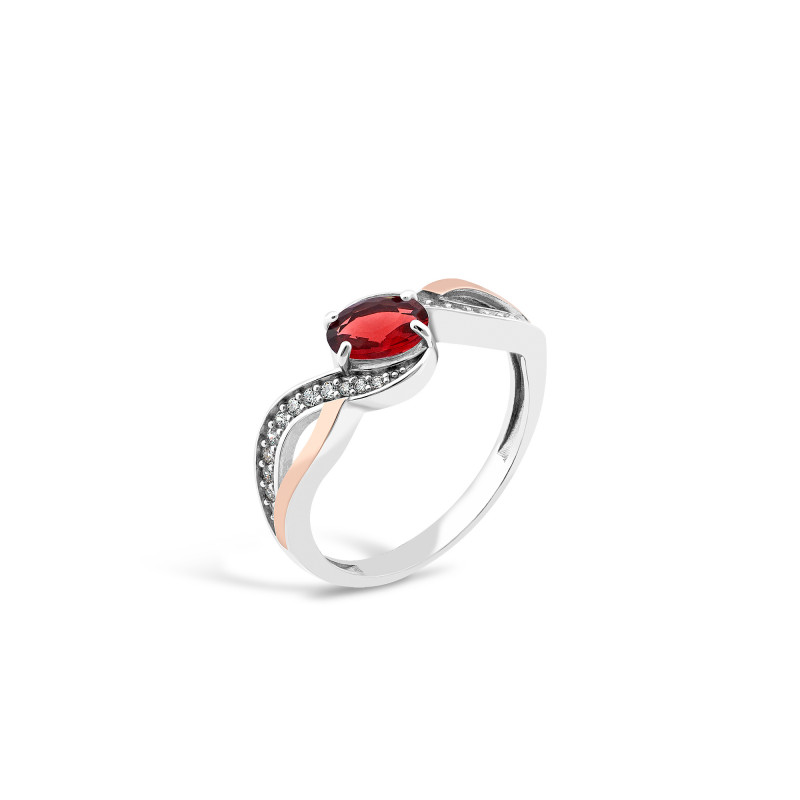 Кольцо с красным фианитом 706
