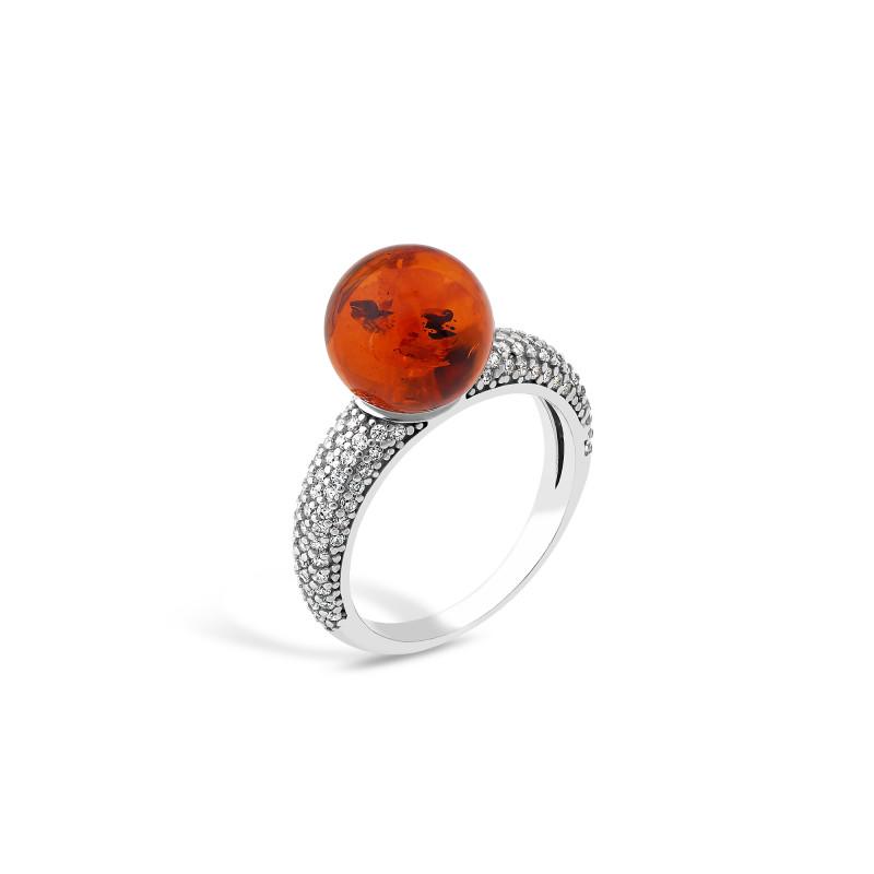 Кольцо с янтарем 812