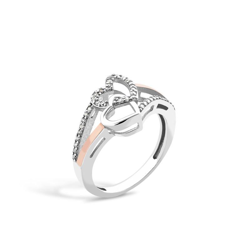 Серебряное кольцо Сердечко 695