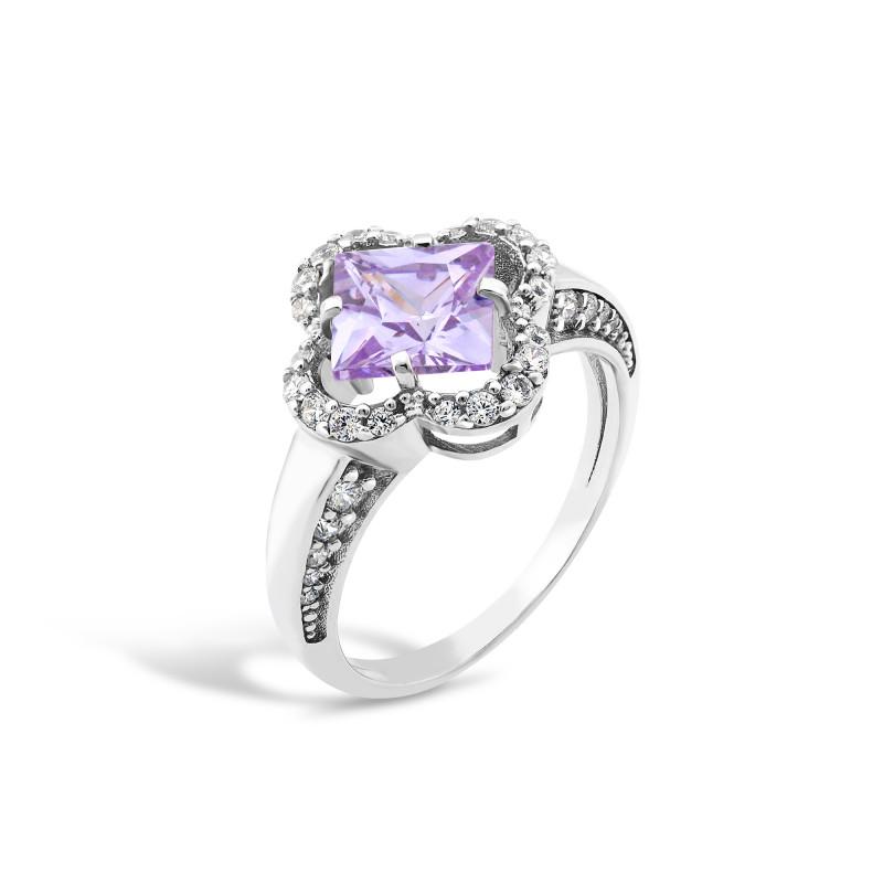 Кольцо с фиолетовым фианитом 440
