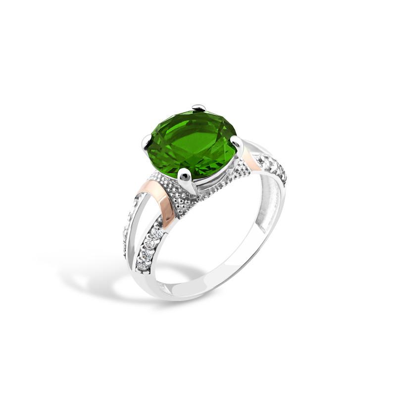 Кольцо с темно-зеленым альпинитом 201