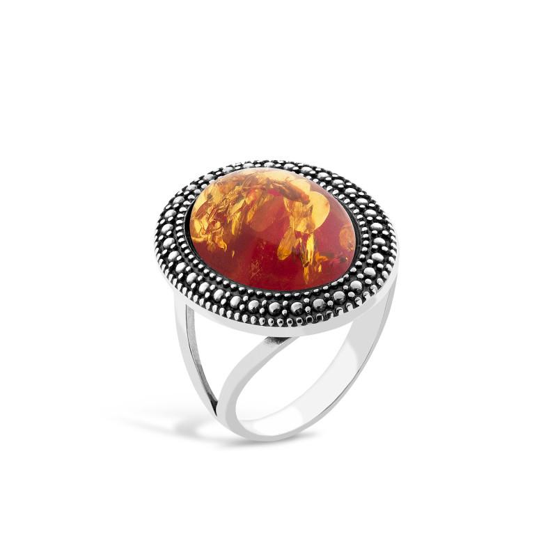 Кольцо с янтарем 069