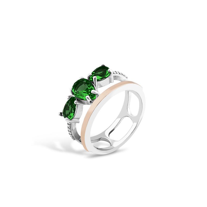 Кольцо с темно-зеленым альпинитом 704