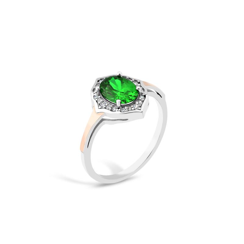 Кольцо с темно-зеленым альпинитом 869